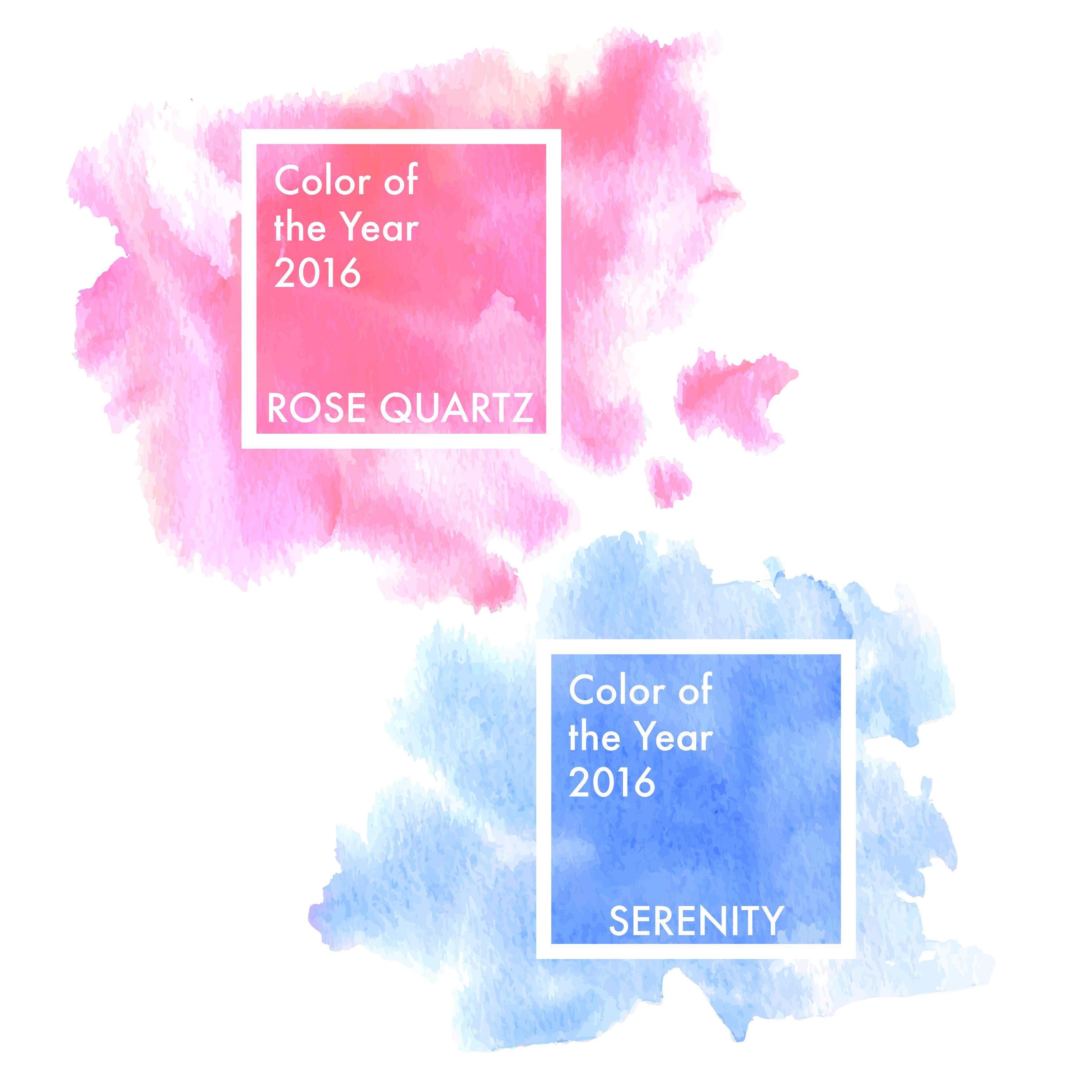 Aquarela - Rosa Quartz e Azul Serenity